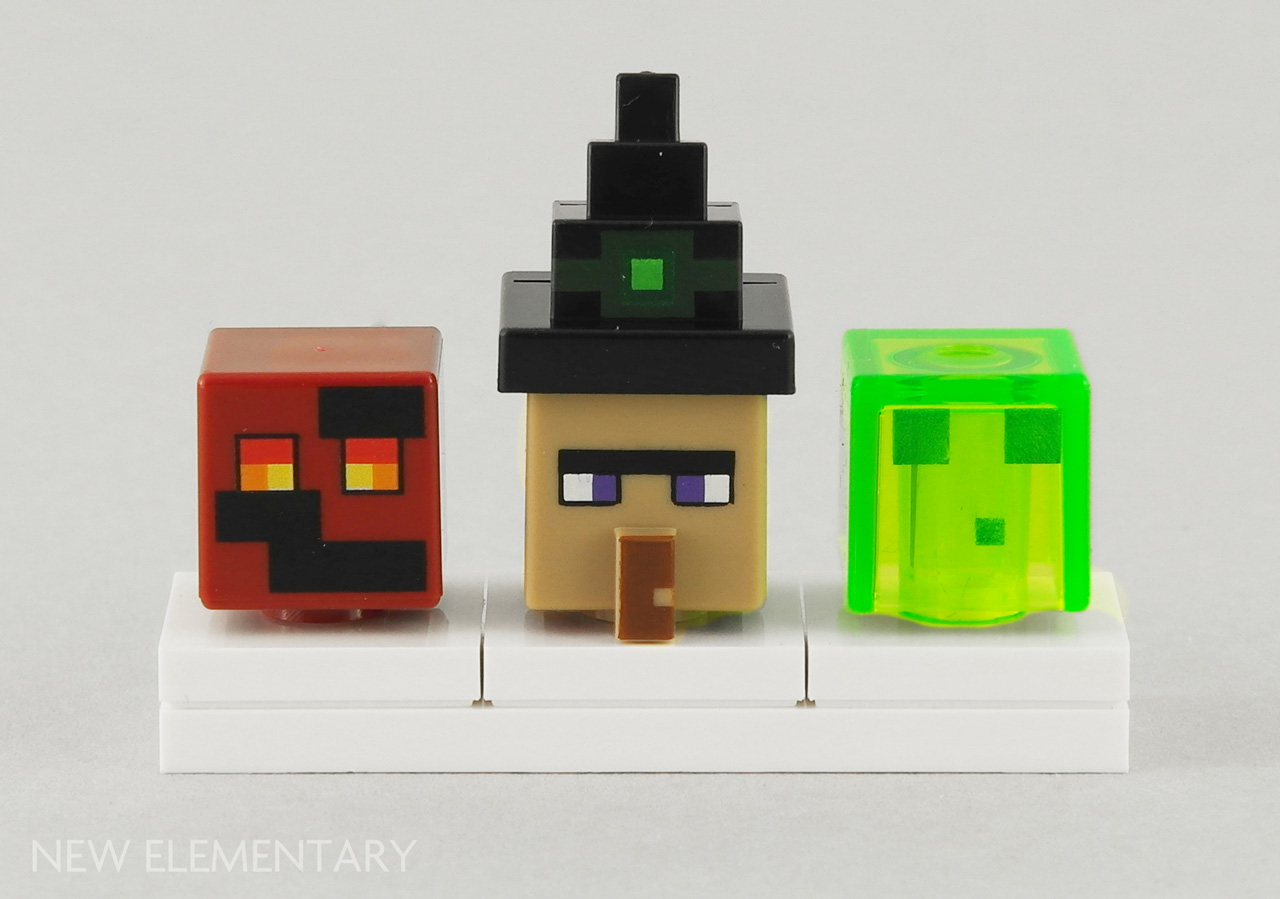 Minecraft 2017 The New Parts Elementary A Lego Blog Of 21133 Witch Hut On Left Is Magma Cube Element Id 6176402 First Head In Dark Red