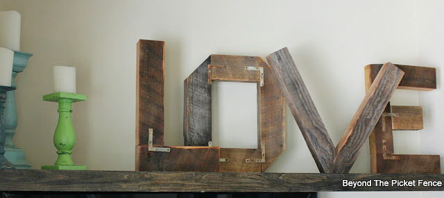 rustic wedding, love, decor, reclaimed wood, industrial, barn wood, rust, big letters, http://bec4-beyondthepicketfence.blogspot.com/2015/07/rustic-love.html
