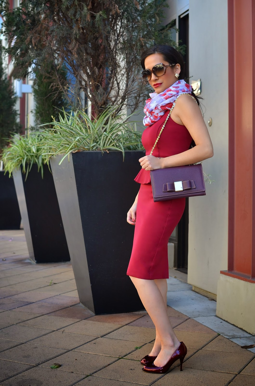 Armani Exchange Burgundy Peplum Dress Ivanka Trump Handbag Vera Wang Floral Scarf Maroon Stuart Weitzman Heels Gucci Suglasses