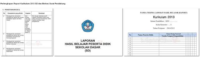 Perlengkapan Raport Kurikulum 2013 SD dan Berkas Surat Pendukung