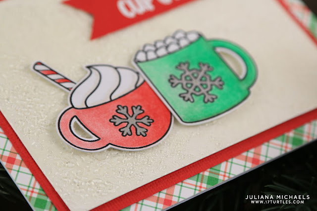 Cup of Cheer Coffee Card with Cracked Ice Background by Juliana Michaels featuring Sunny Studio Mug Hugs Stamp Set