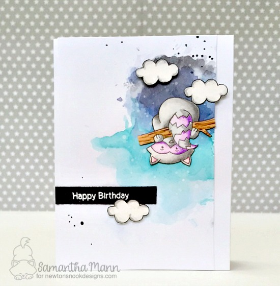 Purple Raccon Birthday Card by Samantha Mann | Raccoon Rascals Stamp set by Newton's Nook Designs #newtonsnook