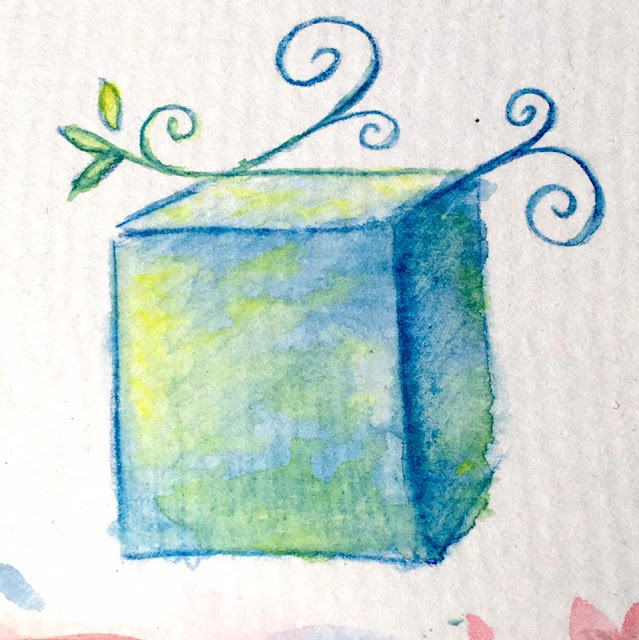 watercolor sketch of a fancy cube in blue, green and yellow