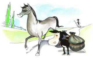 El caballo y el asno