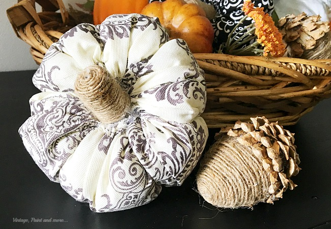 Vintage, Paint and more... a fabric pumpkin and twine wrapped acorn with a pine cone cap