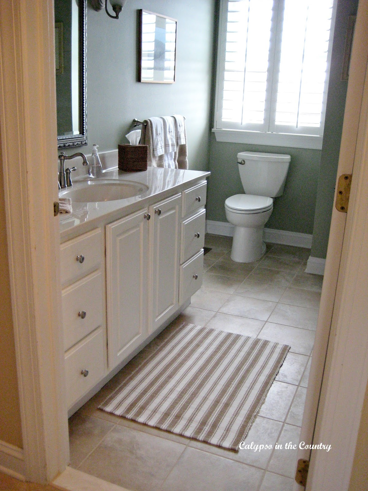 Guest bathroom with plantation shutters
