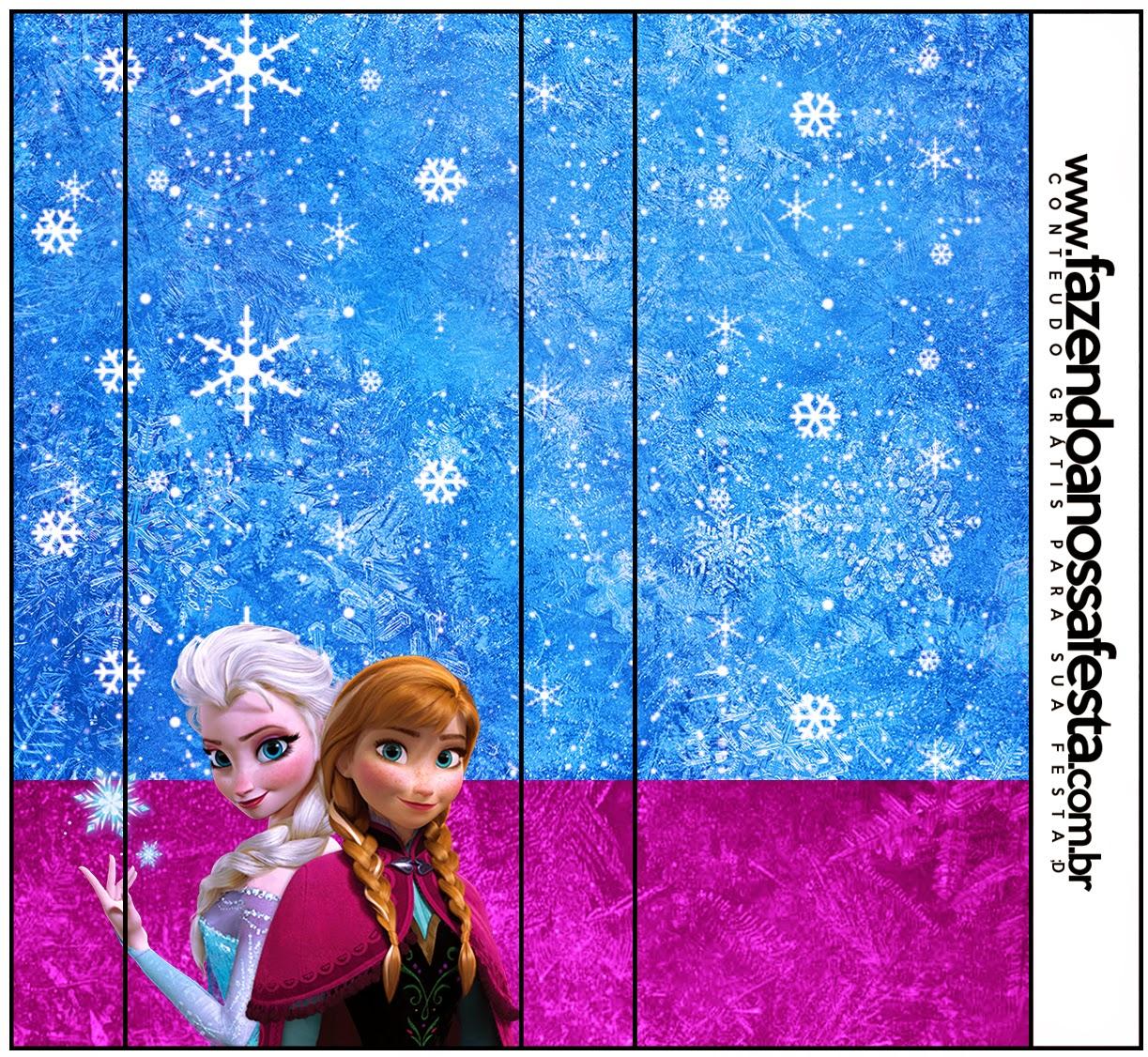 Etiqueta de Frozen Azul y purpura para imprimir gratis.