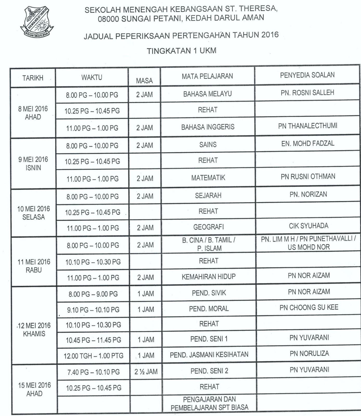 ... , Sungai Petani, Kedah DA: JADUAL PEPERIKSAAN PERTENGAHAN TAHUN 2016