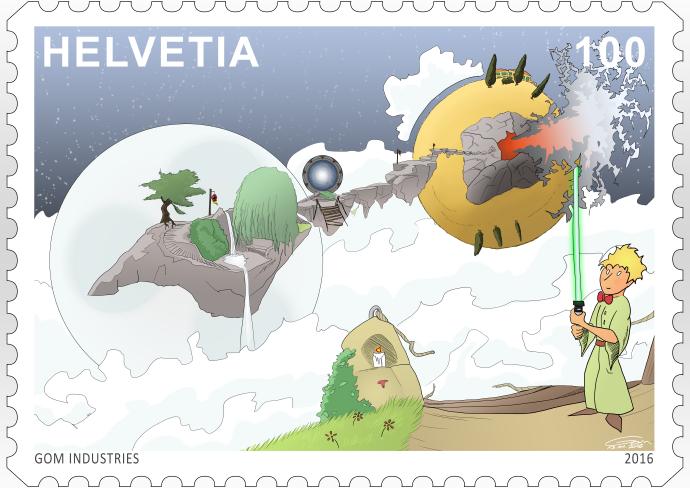 faux timbre suisse Helvetia 100