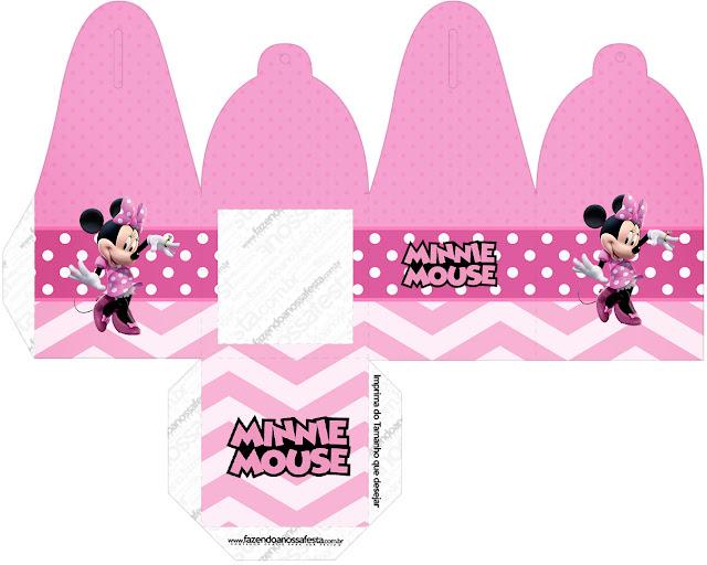 Coqueta Minnie en Rosa: Cajas para Imprimir Gratis.