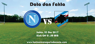 Data dan Fakta Liga Fantasia Napoli vs Sampdoria Fantasi Manager Indonesia