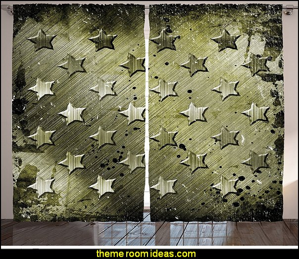 Military Grunge Curtains   Army Theme bedrooms - Military bedrooms camouflage decorating  - Army Room Decor - Marines decor boys army rooms - Airforce Rooms - camo themed rooms - Uncle Sam Military home decor - military aircraft bedroom decorating ideas - boys army bedroom ideas - Military Soldier - Navy themed decorating