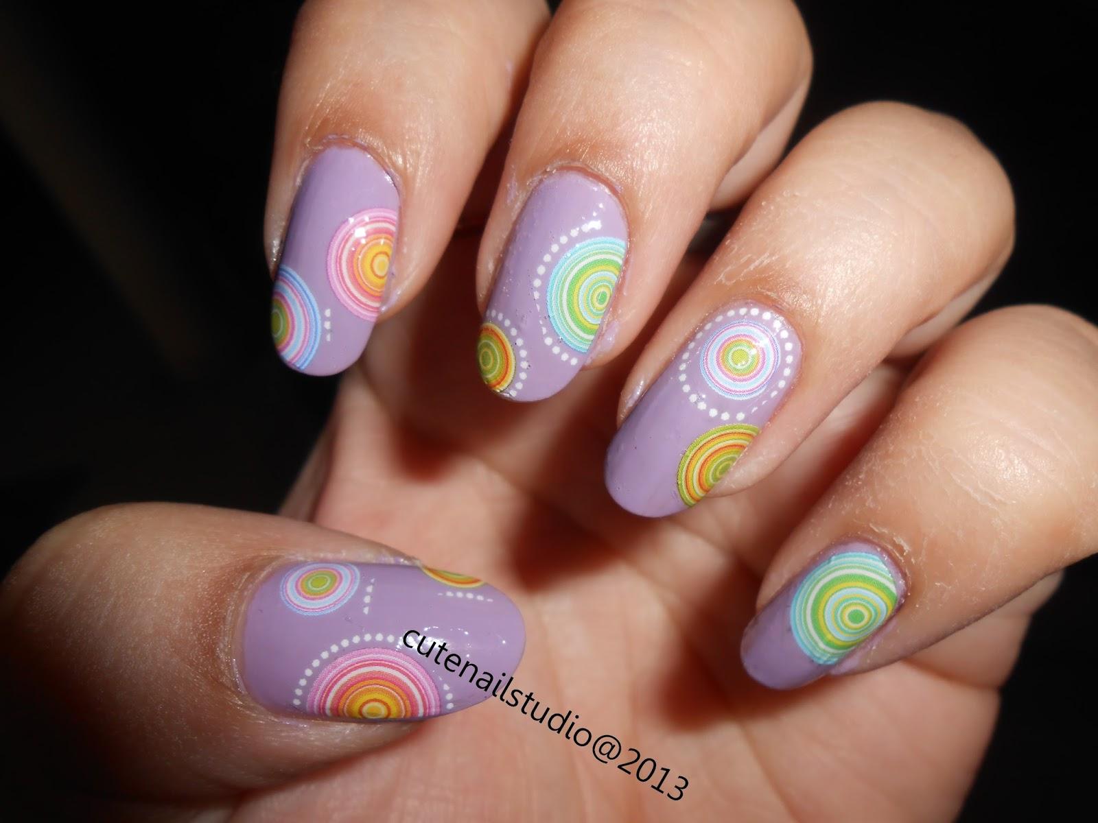 Cute nails: Purple pastel circle nail art