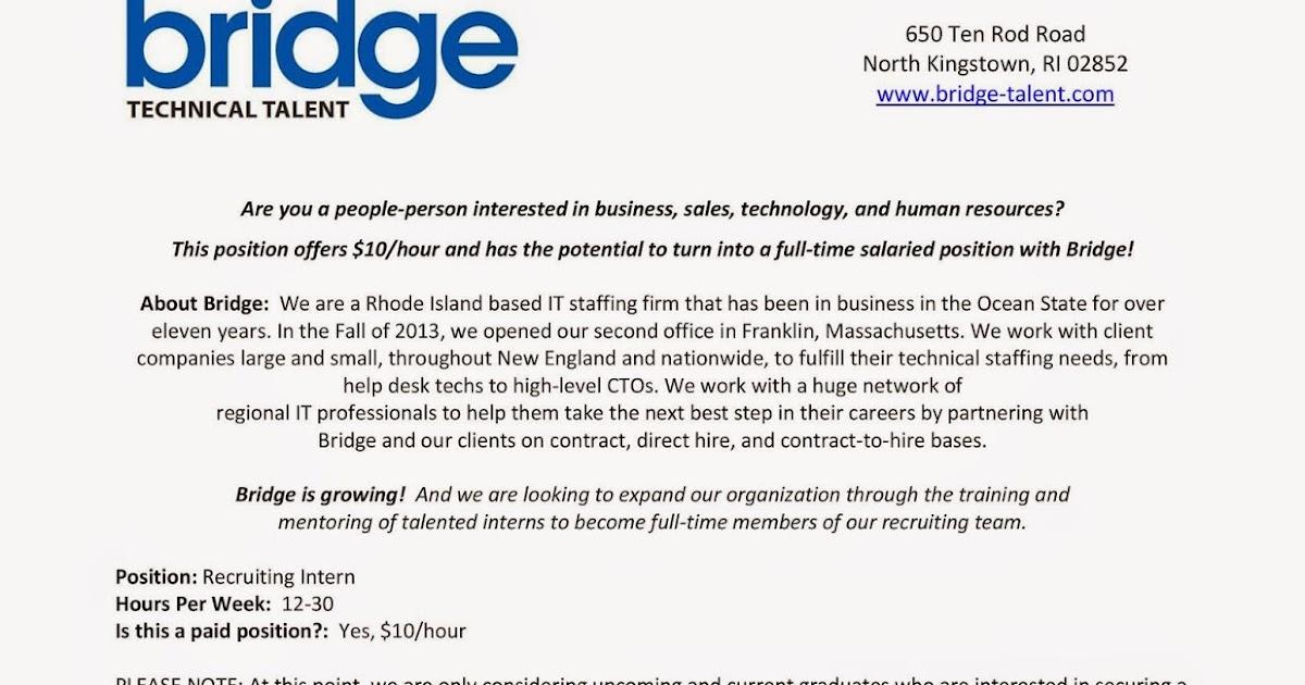 URI CBA Internship/Job Information Bridge - Recruiting Intern