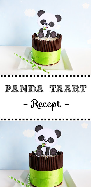 Panda taart makkelijk te maken met kwarktaart mix, panda printable, panda taart maken, mikado koekjes gebruiken voor taart
