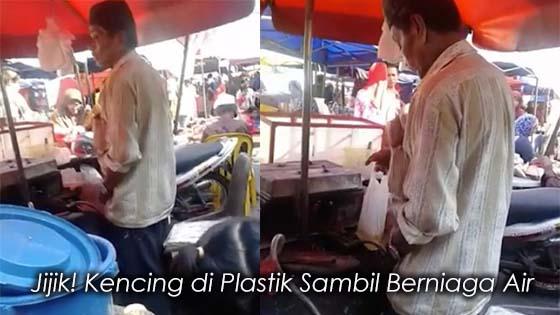 Peniaga Kencing Tadah Plastik Sambil Jual Air