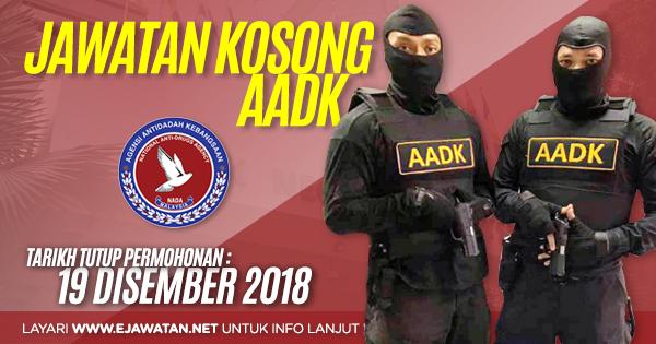jawatan kosong Agensi Antidadah Kebangsaan (AADK) 2019