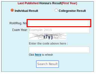 nu honours 1st year result reg/roll