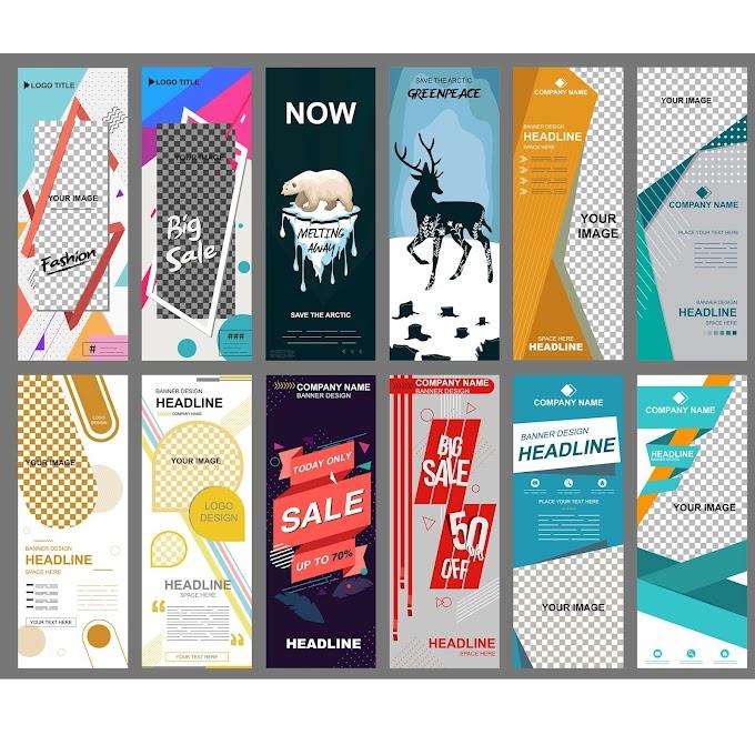 Banners templates modern vertical standee design Free vector