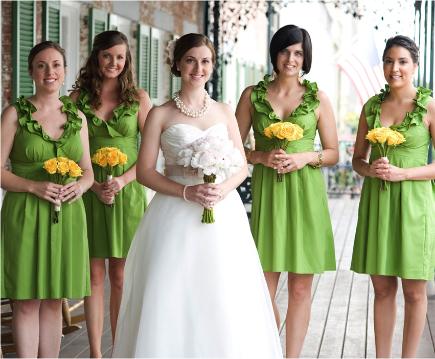 Independent Designer: Real Wedding: Grass Green Bridesmaid