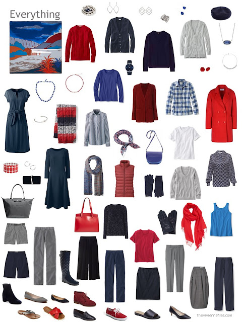 a 12-outfit wardrobe in navy and grey with shades of red