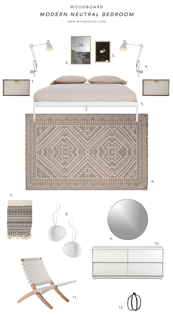 MOODBOARD: Modern neutral bedroom by My Paradissi