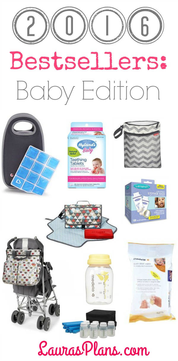2016 Bestsellers: Baby edition. List of hot baby items to make life easier for mom including favorites like Hop Skip Grab and Go wet/dry bags, PumpEase hands-free pumping bra, Medela quick clean wipes and Ameda breast milk storage system