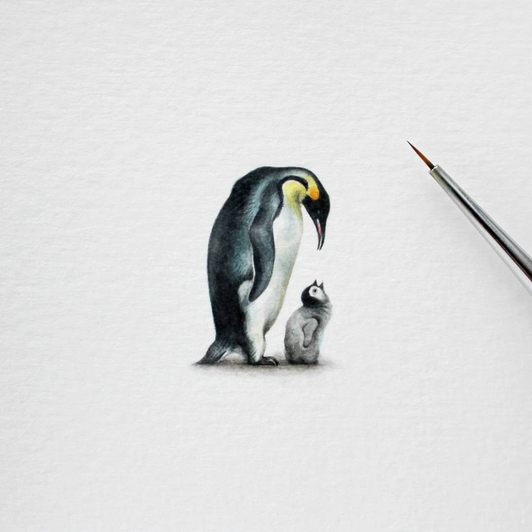 07-King Penguin-and-Chick-Julia-Las-Miniature-3-cm-Paintings-of-Wild-Animals-www-designstack-co