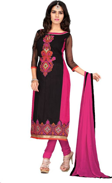 Semi-Stitched Chanderi Long Salwar Kameez