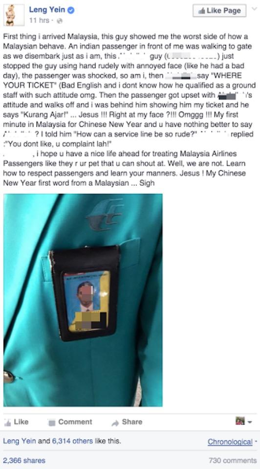 DJ Leng Yein kecewa staf MAS biadap