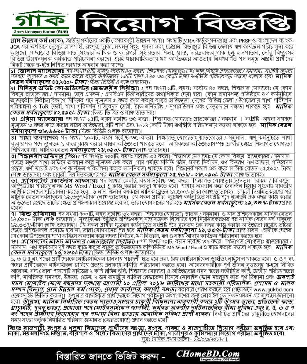 Gram Unnayan Karma GUK Job Circular 2018
