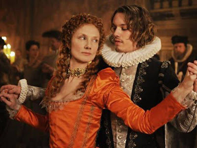 Young Edward de Vere, 17th Earl of Oxford (played by Jamie Campbell Bower) shares an intimate moment (dances) with young Queen Elizabeth I (played by Joely Richardson), Directed by Roland Emmerich