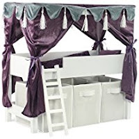 Doll Canopy Bed & Storage Set Fits