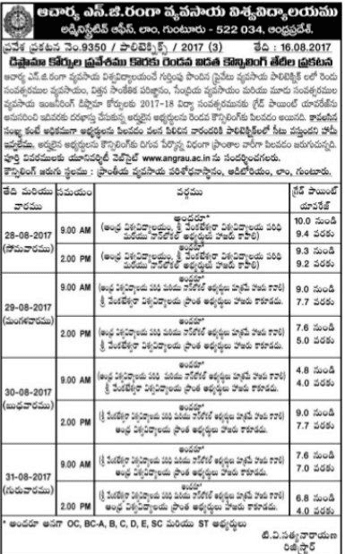 ANGRAU BiPC Stream Degree Admissions 2017 Combined Counselling dates-AP EAMCET 2017