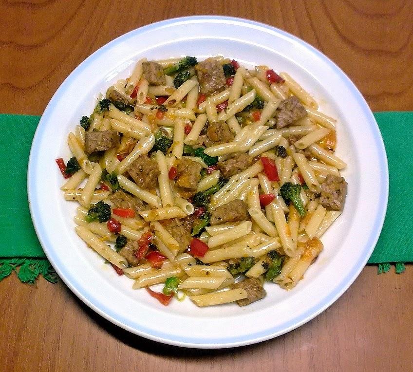 Pasta con Tempeh y Verduras.