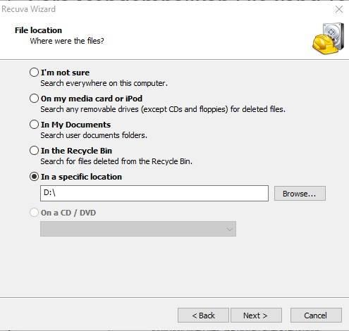 Pilih lokasi pengembalian file