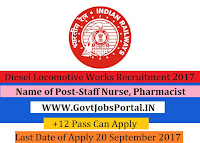 Diesel Locomotive Works Recruitment 2017– Staff Nurse, Pharmacist