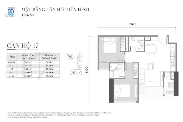 Mặt bằng căn hộ 17 tòa S2 Vinhomes Skylake