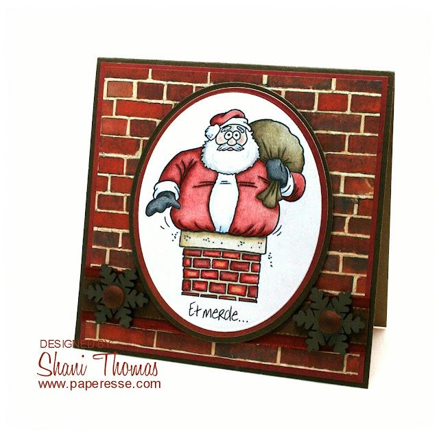 Et Merde...Père Noël coincé dans une cheminée, une carte de Noël marrante – funny French Christmas card, by Paperesse.