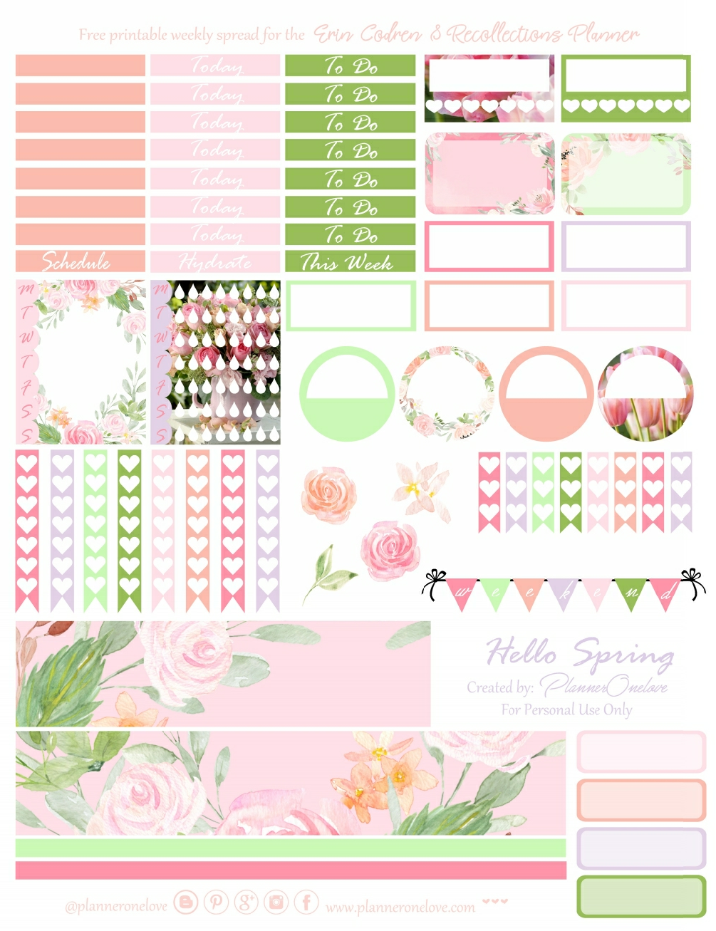 Free Hello Spring Printable Planner Stickers For The Erin Condren
