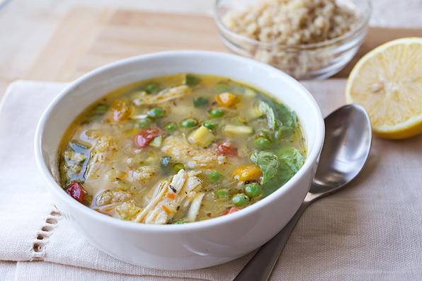 Simple Lemony Chicken & Spring Veggie Soup