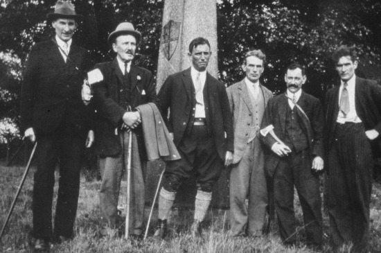 Photograph of North Mymms Parish Council beating the bounds near Hawkshead Bridge in 1930. Bert Shadbolt, Mr Tilbury, James Crawford, Bert Groom, Tom Nott, George Rix. Image by G Knott courtesy of the former North Mymms Local History Society, digitally enhanced  by Mike Allen.