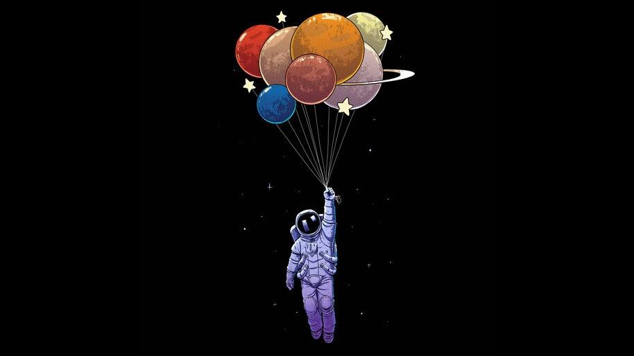 Astronaut, Balloons, Digital Art, 4K, #6.1248
