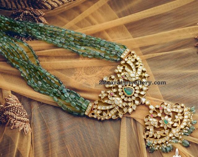 Emerald Beads Set with Kundan Pendant by Royal Jewels