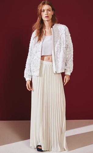 H&M cazadora bomber mujer y falda plisada verano 2016