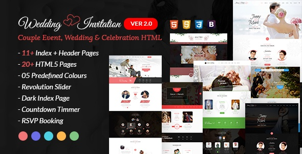 Wedding Invitation Couple Event and Celebration HTML Website Template