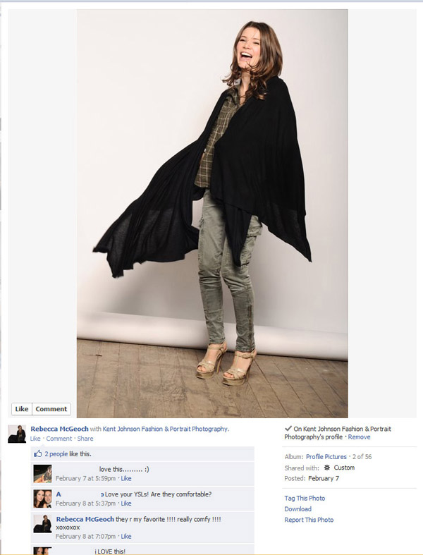 Facebook screenshot, Rebecca McGeoch, PR Portrait for RM Cashmere