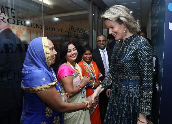 Queen Mathilde wore Dries Van Noten dress and Natan lace dress. Mahatma Gandhi, Ram Nath Kovind and Savita