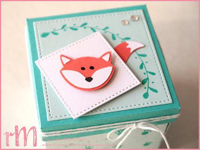 Stampin' Up! rosa Mädchen Kulmbach: Explosionsbox Fuchs mit Foxy Friends, Fuchsstanze, Grußelemente, Gorgeous Grunge  und Framelits Stickmuster