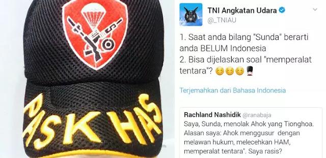 Kicauan Blunder akun TNI Singgung SARA, #AingSunda Trending Topic di Twitter